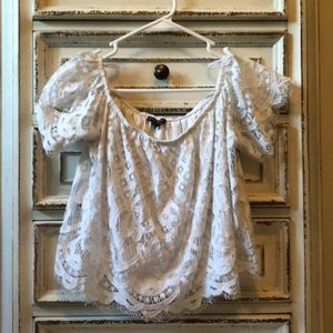NEW! worn once off the shoulder lace top